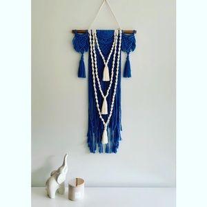 Blue & White Macrame Wall Hanger